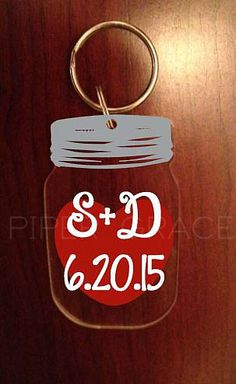 Personalized Acrylic Mason Jar Keychain with Heart, Initials and Date by PiperGraceGifts on Etsy