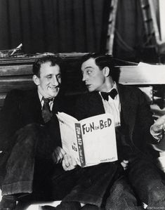Jimmy Durante & Buster Keaton on the set of The Passionate Plumber, 1932
