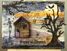 Layers of ink - Spooky Mixed Media Canvas Tutorial by Anna-Karin, for the Tim Holtz Media Team. Sizzix dies, Ranger ink paint and media, Stamper's Anonymous stamps.