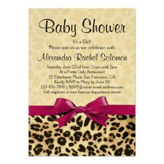 Leopard Print Hot Pink Bow Girl Baby Shower Invitation, Cute Jungle Safari theme for #babyshower