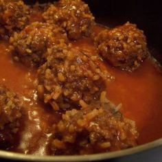 This is my mom's recipe for porcupine meatballs:  1 1/2 lbs lean ground beef 1/2 cup rice uncooked 1/4 cup chopped onion 1 can tomato soup 1 soup can water Garlic powder or favorite seasonings  Stir soup & water together in large skillet. Mix meat, onion, rice, & seasonings in large bowl. Form into meatballs (18-25). Bring soup mixture to boil, add meatballs, and simmer on low for 1 hour.