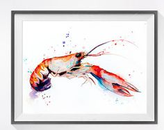 Octopus watercolor painting print Octopus art animal by SlaviART