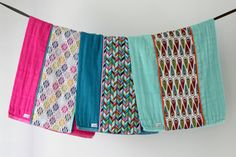 Baby Burp Cloth Gift Set of 3 Colorful Aztec Arrows and by owesley