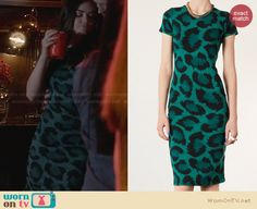 Aria's green leopard print dress on Pretty Little Liars. Outfit Details: http://wornontv.net/27940 #PLL #fashion