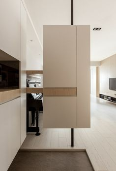 Room dividers floating effect cabinet wood white piano sideboard