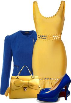 """Blue and Sunflower Yellow"" by fashion-766 ❤ liked on Polyvore"