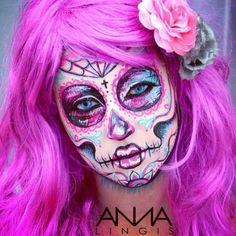 Sugar skull art inspired by Carisa Rose #skull #sugarskull #facepaint #art #bodypaint