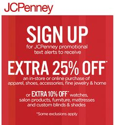 JCPenney: 25% off Purchase Coupon on http://hunt4freebies.com/coupons
