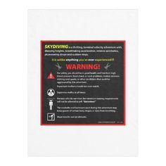 SKYDIVING Theme Park Warning Sign Fleece Blanket
