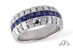 White gold wide sapphire and diamond accent band from the Allison Kaufman Collection.