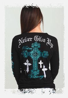 JUST ARRIVED! Black Henley with Turquoise Crosses by Cowgirl Tuff
