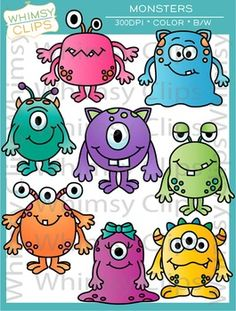 The monster clip art set contains 16 image files, which includes 8 monsters in color and 8 monsters in black and white in both png and jpg. All images are 300dpi for better scaling and printing. $