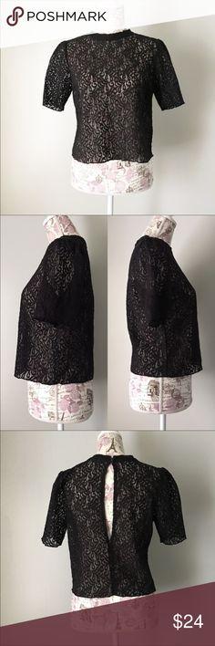 Tildon black Lace Top Tildon black lace top with peek a boo back. Super cute with a high waisted skirt or pants! Tildon Tops
