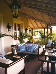 British Colonial Veranda...all of this would look just as pretty inside... #outside_living #veranda #british_colonial_decor