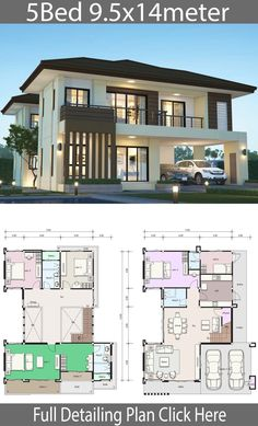 House design plan with 5 bedrooms. Style Modern TropicalHouse descriptio… House design plan with 5 bedrooms. Style Modern TropicalHouse description:Number of floors 2 storey housebedroom 4 roomstoilet 3 roomsmaid's room House Plans 2 Storey, 2 Storey House Design, Duplex House Design, Modern House Design, House Front Design, 5 Bedroom House Plans, Porch House Plans, Dream House Plans, Duplex House Plans