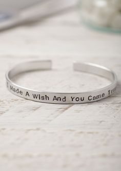 Hand Stamped Aluminium Cuff Bracelet - Lime Lace - I made a wish and you came true