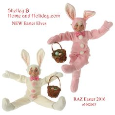Shelley B Home and Holiday - Easter Elf in Bunny Suit RAZ 2016, $33.50 (http://shelleybhomeandholiday.com/easter-elf-in-bunny-suit-raz-2016/)