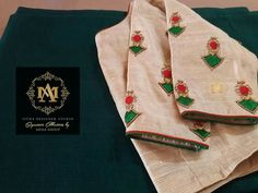 Aari Embroidery, Hand Embroidery Designs, Saree Blouse Neck Designs, Blouse Patterns, White Saree Blouse, Blouse Desings, Maggam Work Designs, Crochet Wool, Thread Work