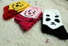 New unisex men women Pooh Piglet Panda Characters warm fluffy winter Fuzzy socks…