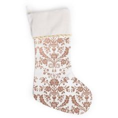 """KESS Original """"Baroque Rose Gold"""" Abstract Floral Christmas Stocking (75755 PYG) ❤ liked on Polyvore featuring home, home decor, holiday decorations, floral home decor, holiday decor and holiday home decor"""