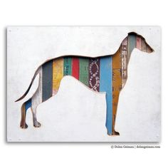 Greyhound, the newest Dog Walk (Mini), made-to-order mixed media artwork by Dolan Geiman