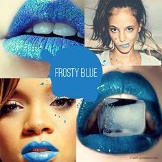 Frosty blue lipstick. #Lipstick #Blue
