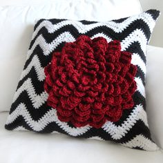 Chevron Flower Pillow Cover PDF Crochet by CrochetSpotPatterns, $4.95