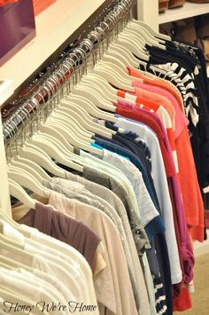"""Organized """"Boutique"""" Closet // Honey We're Home, these slim huggable hangers are awesome and save so much room!"""