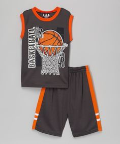 This Charcoal 'Basketball' Tank & Shorts - Infant, Toddler & Boys by KidZone is perfect! #zulilyfinds