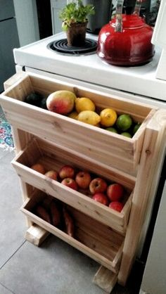 produce stand dyi - Küche - Cedar produce stand dyi - Küche -Cedar produce stand dyi - Küche - Cedar produce stand dyi - Küche - Tilt-Out or Pull-Out Trashcan (in Pantry, and turned length-wise to fit space) Rustic Wooden Spice Rack