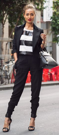 Black And White Striped Sequin Top by Micah Gianneli