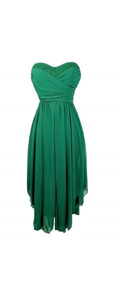 14e373958b6 Dana Strapless Chiffon and Lace Midi Dress in Hunter Green