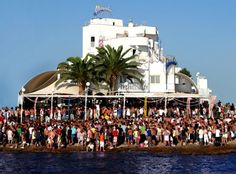 Cafe Mambo, on the Island of Ibiza in Spain and the tide is in!!