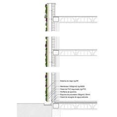 Detalle constructivo jardín vertical. Sistema f+p.