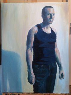 'Self-portrait, short hair, vest' by Dr. Mata Haggis, 2013. Oil on Canvas. 60x80cm