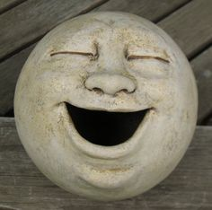 Laughing moon garden sculpture, clay...Great inspiration for making your own work of art for your garden!