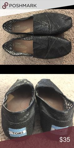 Toms Classic Black Glitter Canvas Espadrille Toms Classic Black Glitter Women's Canvas Espadrille Slip On Shoes - Size 9.5 - Worn a couple of times, tried to break them in and it didn't work. Toms Shoes Flats & Loafers
