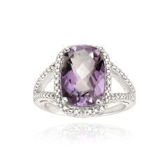Glitzy Rocks Sterling Silver Amethyst and Diamond Accent Ring ( 1/10ct TGW) (Size ) Women's