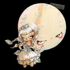 Midnight Picnic with the Moon-Gothic Fairy Tale-Pinkytoast Art Print-8x8. $14.00, via Etsy.