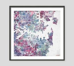 SYDNEY Map Watercolor painting Australia Giclee Fine by MapMapMaps