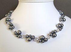 He hecho este collar con perlas hermosas de vidrio de estaño de 10mm, 8mm y 6mm y 8mm y 6mm claro cristal Preciosa Czech fuego pulido facetado