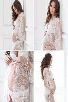 Gorgeous sheer lace maternity dress that will make your next photography session a success One Size Fits Most