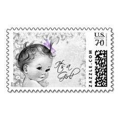 Vintage Lavender Baby Shower Postage Stamp