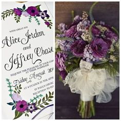 Beautiful plums and greens feature in this hand painted wedding invitation. Ask us how we can customize invitations just for you!