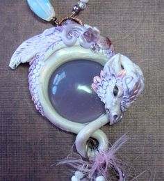 RESERVED Whisper, polymer clay and lavender fluorite ooak hand sculpted dragon