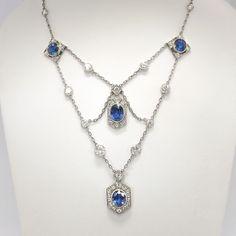 Vintage 1940's 9.60ct t.w. Natural Blue Sapphire & Diamond Festoon Necklace Platinum | Antique & Estate Jewelry | Jewelry Finds