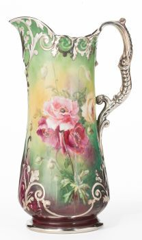 Willets Belleek Hand Painted Floral Decorated Ceramic And Silver Overlay Pitcher - Willets Manufacturing Co., Trenton, New Jersey    c.1890