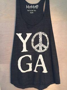 YOGA Peace Racerback Tank in Black by MoMoInspire on Etsy! www.etsy.com/shop/momoinspire