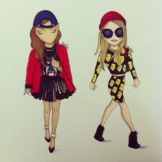 Rihanna and Cara Delevingne | 24 Super Cute Drawings Of Fashionable Celebrities