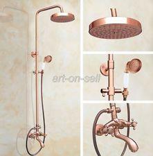Antique Red Copper Bathroom Rainfall Shower Faucet Set Bath Tub Mixer Tap arg505